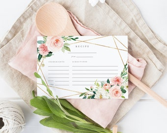 Editable Template - Instant Download Geometric Spring Romance Recipe Card