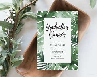 Editable Template - Instant Download Tropics Graduation Dinner Invitation