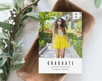 Editable Template - Instant Download Minimal Banner Graduation Photo Card