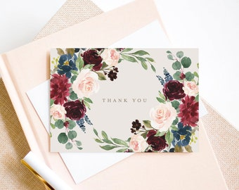 Editable Template - Instant Download Fall Elegance Thank You Card