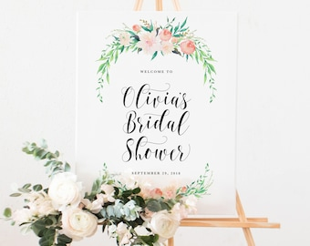 Delicate Bouquet Bridal Shower Large Welcome Easel Display Sign