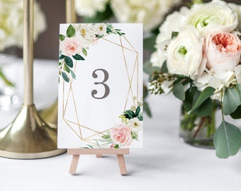 Editable Template - Instant Download Geometric Spring Romance Table Numbers