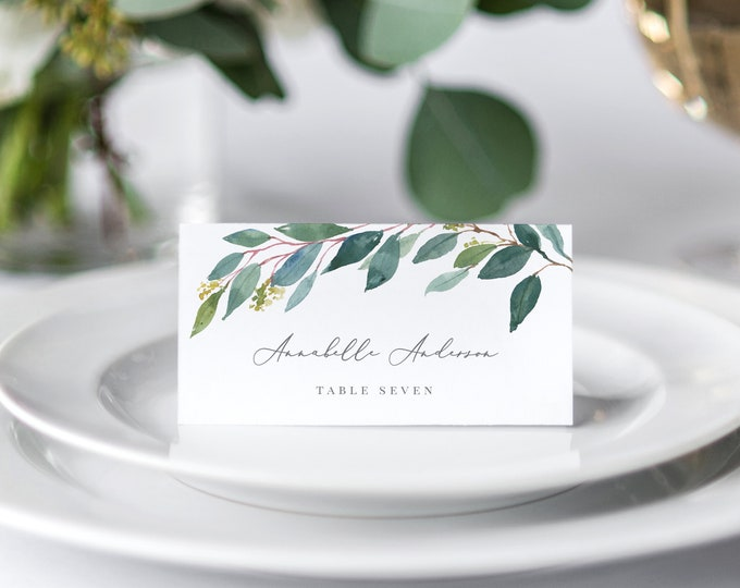 Featured listing image: Editable Template - Instant Download Leafy Place Cards