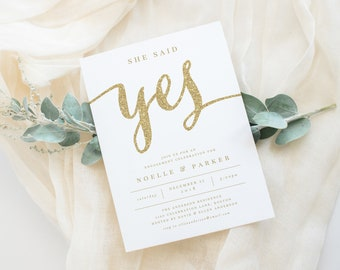 Editable Template - Instant Download She Said Yes in White Engagement Party Invitation