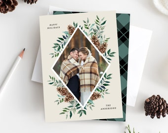 Editable Template - Instant Download Holiday Forest Photo Card