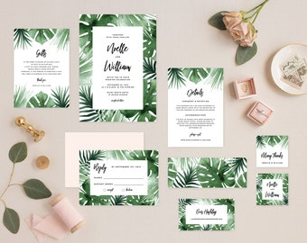 Editable Template - Instant Download Tropics Complete Wedding Invitation Suite