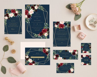 Editable Template - Instant Download Geometric Fall Elegance Complete Wedding Invitation Suite
