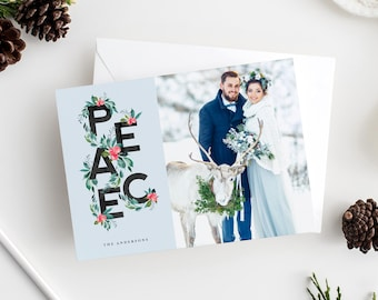 Editable Template - Instant Download Peace Holiday Photo Card