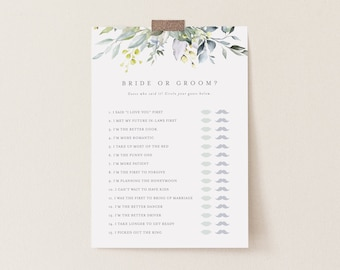 Editable Template - Instant Download Dusty Blue Florals Bride or Groom Game