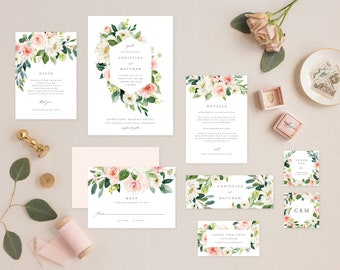 Editable Template - Instant Download Geometric Spring Romance Complete Wedding Invitation Suite