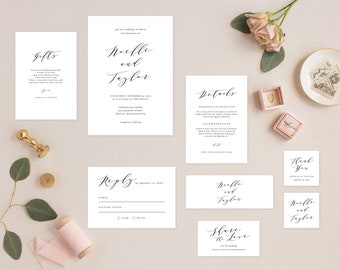 Editable Template - Instant Download Soft Calligraphy Complete Wedding Invitation Suite