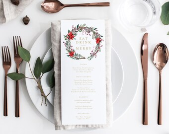 Editable Template - Instant Download Classic Poinsettia Dinner Menu