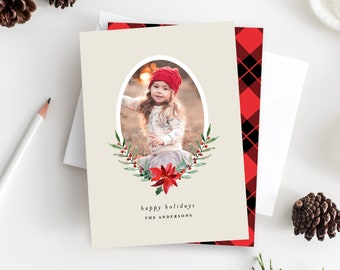 Editable Template - Instant Download Sweet Poinsettia Holiday Photo Card