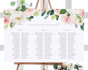 Editable Template - Instant Download Spring Romance Banquet Guest Seating Chart in 3 sizes