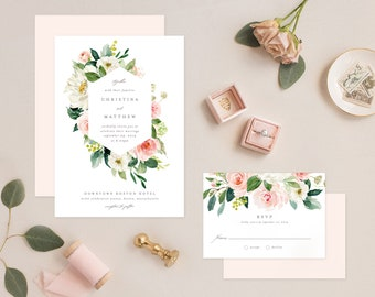 Editable Template - Instant Download Spring Romance Wedding Invitation & RSVP