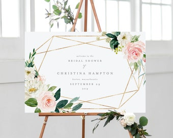 Editable Template - Instant Download Geometric Spring Romance Bridal Shower Welcome Sign in 2 Landscape Sizes