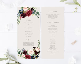 Editable Template - Instant Download Fall Elegance Wedding Program