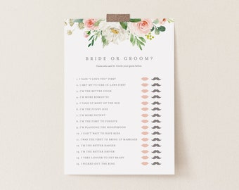 Editable Template - Instant Download Spring Romance Bride or Groom Game
