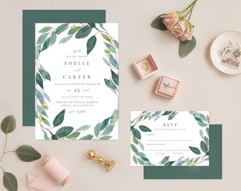 Editable Template - Instant Download Leafy Wedding Invitation & RSVP