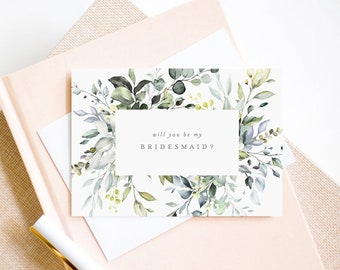 Editable Template - Instant Download Dusty Blue Floral Bridal Party Proposal Cards