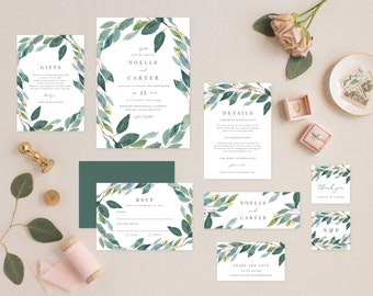 Editable Template - Instant Download Leafy Complete Wedding Invitation Suite