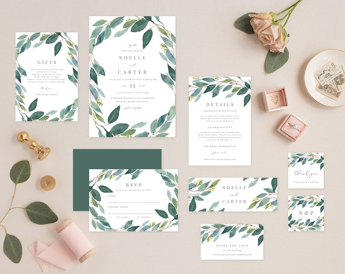 Featured listing image: Editable Template - Instant Download Leafy Complete Wedding Invitation Suite