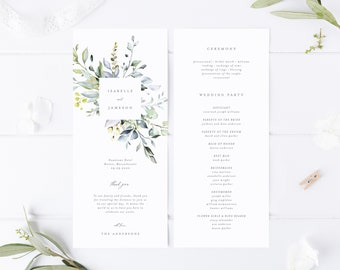 Editable Template - Instant Download Dusty Blue Florals Wedding Program