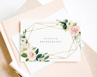 Editable Template - Instant Download Geometric Spring Romance Bridal Party Proposal Cards