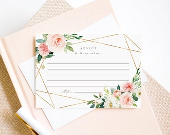 Editable Template - Instant Download Geometric Spring Romance Advice Cards