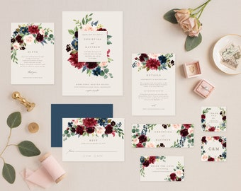 Editable Template - Instant Download Fall Elegance Complete Wedding Invitation Suite