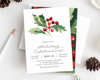 Editable Template - Instant Download Classic Holly Berry Holiday Party Invitation