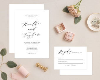 Editable Template - Instant Download Soft Calligraphy Wedding Invitation & RSVP