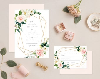 Editable Template - Instant Download Geometric Spring Romance Wedding Invitation & RSVP
