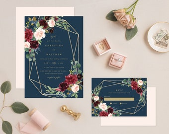 Editable Template - Instant Download Geometric Fall Elegance Wedding Invitation & RSVP