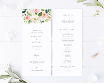 Editable Template - Instant Download Geometric Spring Romance Wedding Program
