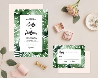 Editable Template - Instant Download Tropics Wedding Invitation & RSVP