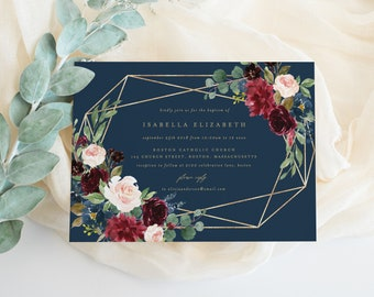 Editable Template - Instant Download Geometric Fall Elegance Baptism Invitation