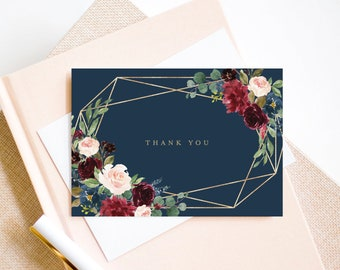 Editable Template - Instant Download Geometric Fall Elegance Thank You Card