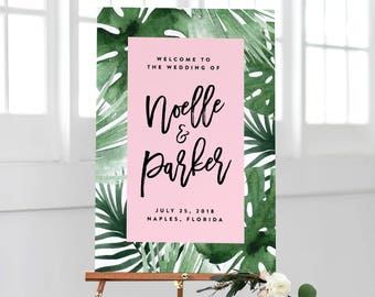 Tropics in Pink Wedding Day Large Welcome Display Sign