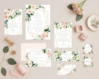Editable Template - Instant Download Geometric Spring Romance Complete Wedding Invitation Suite