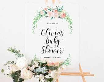Delicate Bouquet Baby Shower Large Welcome Easel Display Sign