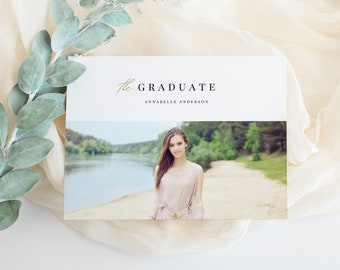 Editable Template - Instant Download The Graduate Graduation Photo Card Announcement Invitation