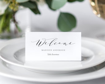 Editable Template - Instant Download Soft Calligraphy Place Cards