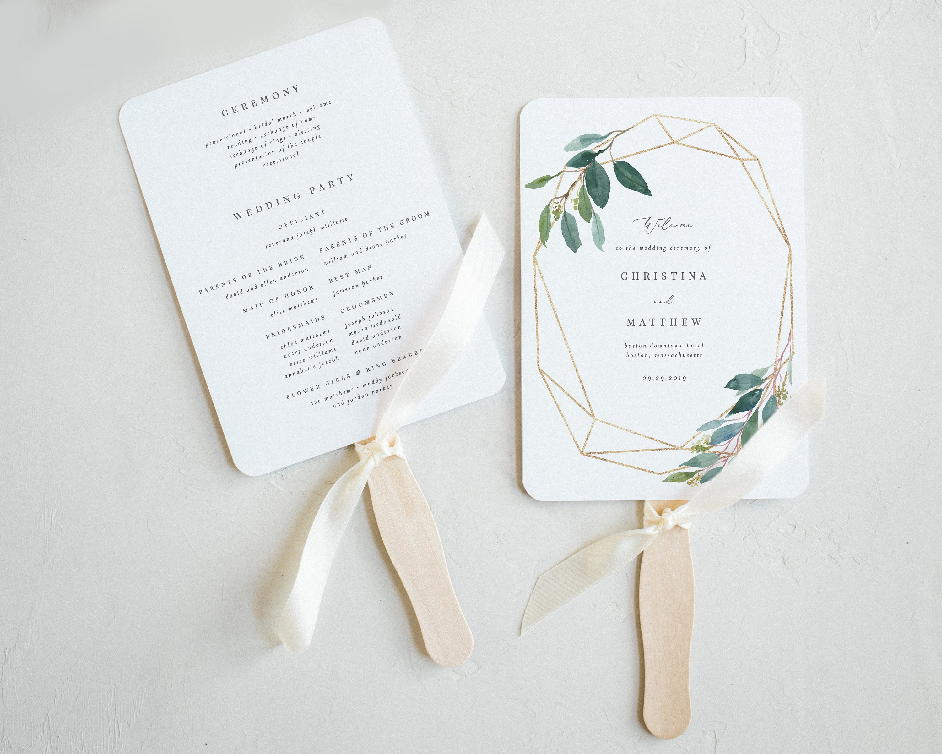 editable template instant download geometric leafy wedding program fan