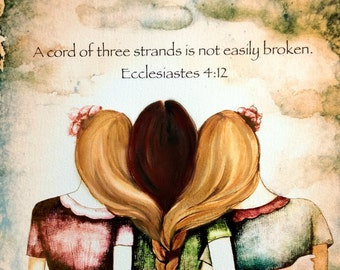 "Three sisters vintage  art print "" a cord of three strands is not easily broken"""