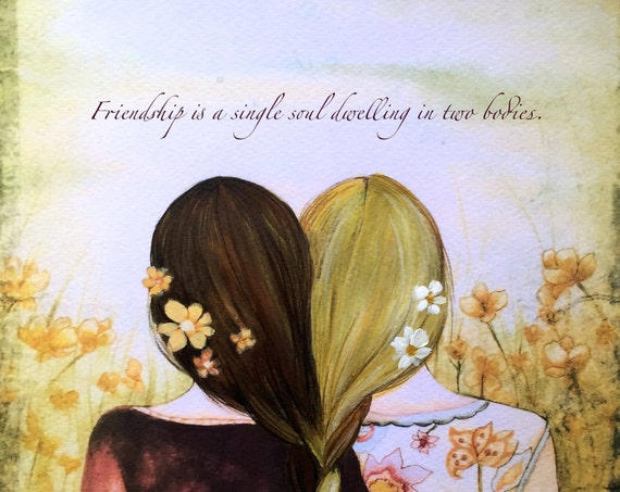 Two blonde and brown hair  braided  sisters best friends art print