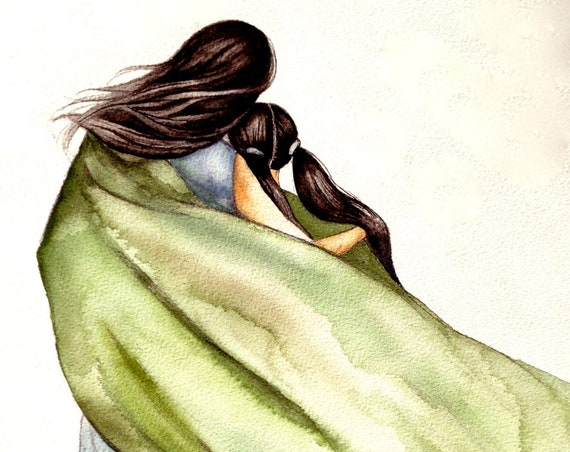 mother and daughter  with green blanket art print