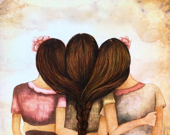 Sibling gift, Tree sisters best friends  with brown hair art print