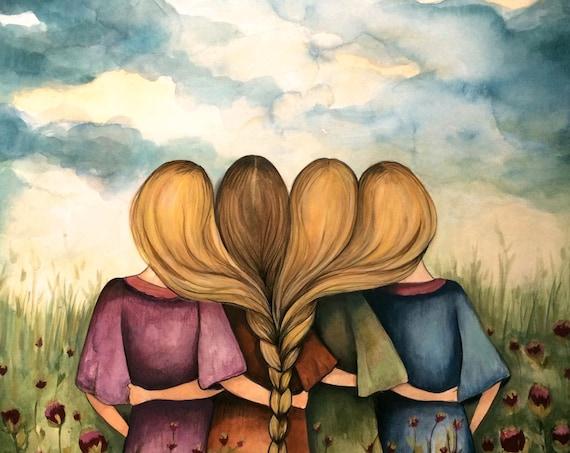 Sibling gift, The four sisters best friendsbridesmaids present  art print