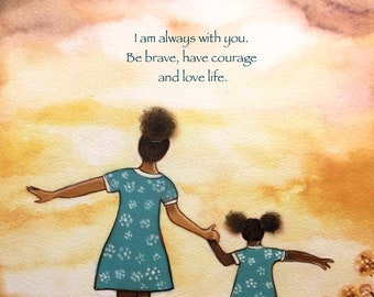 """Mother and daughter """"our path"""" art print, gift idea mother's day  American African"""
